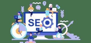 Ilustración de SEO, posicionamiento web y marketing digital