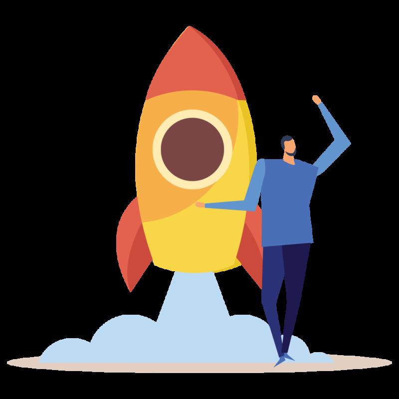 Diseñadora web icono de cohete