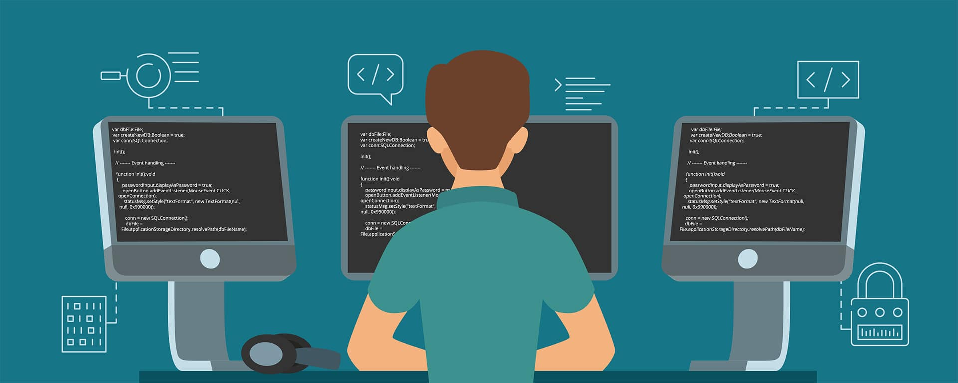 Programador informático con diferentes ordenadores y programas