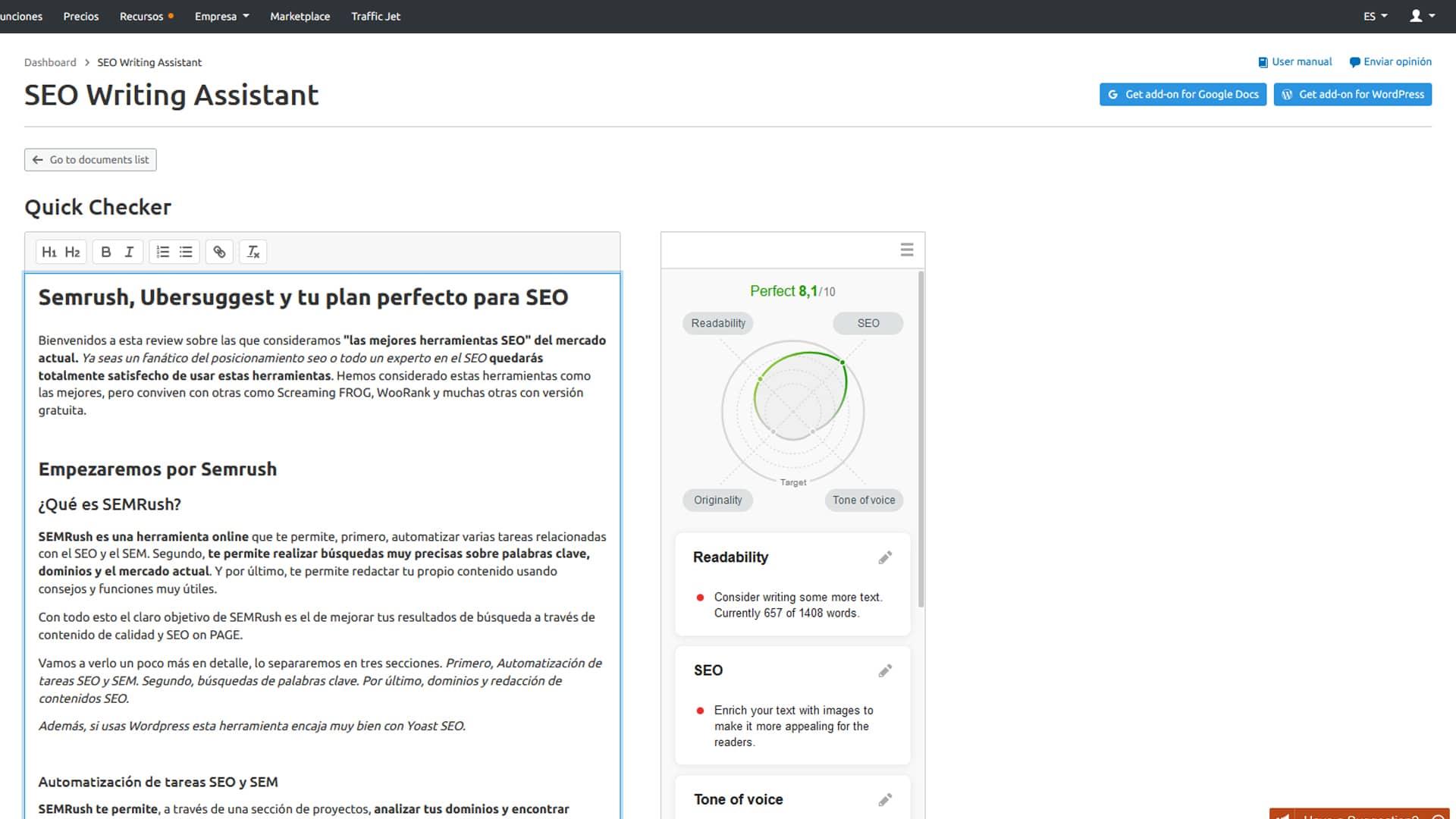 SEMRush es una herramienta de posicionamiento web